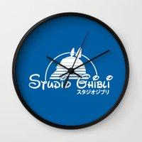 studio ghibli Wall Clocks featuring studio ghibli. by dann matthews