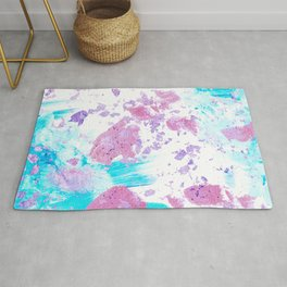 Pink and Blue Metallic Modern Abstract Rug