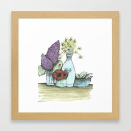 Caning Jar Bouquets  Framed Art Print
