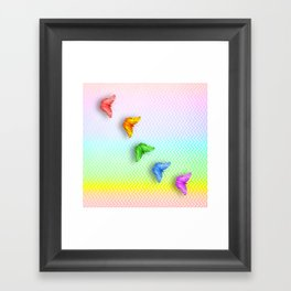 Rainbow butterflies and chevron Framed Art Print
