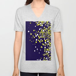 Tiny Bubbles in Navy Blue with White and Yellow Unisex V-Neck
