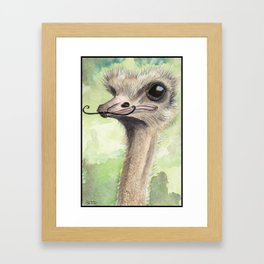 Ostrich 'Stache Framed Art Print