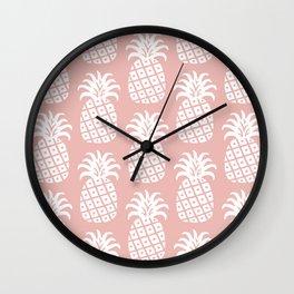 Retro Mid Century Modern Pineapple Pattern Dusty Rose 2 Wall Clock