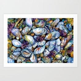 Blue Mussels (Mussel Beach) Art Print