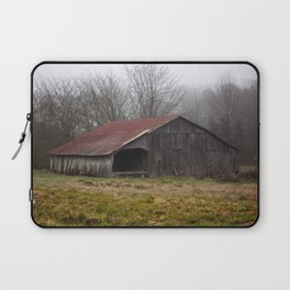 Barn in the Mist - Rustic Barn with Red Tin Roof on Foggy Day in Arkansas Laptop Sleeve