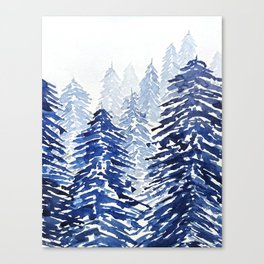 A snowy pine forest Canvas Print