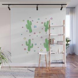Space Cactus Rainbow Stars Wall Mural