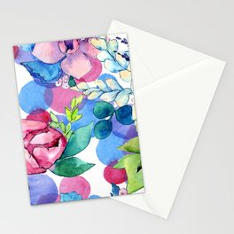 Graceful Watercolor Floral Pastel Art Print Stationery Cards