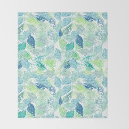 Beach Leaves Block Print Style Pattern Throw Blanket