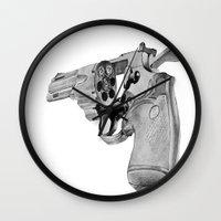 gun Wall Clocks featuring gun by VoicesRantOn