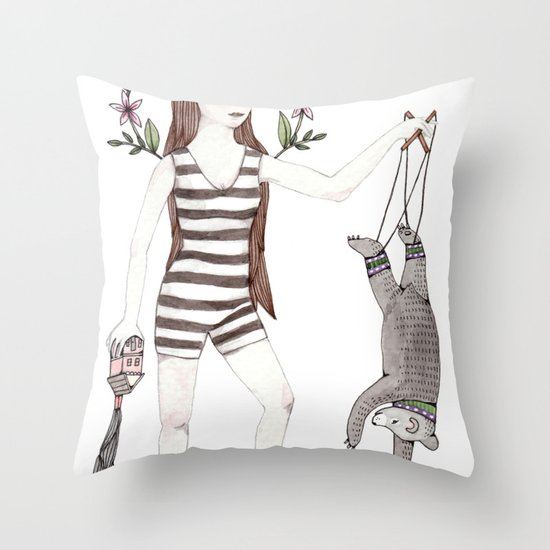 Dangle Bear Throw Pillow