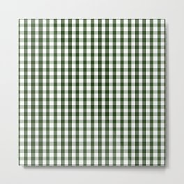 Dark Forest Green and White Gingham Check Metal Print