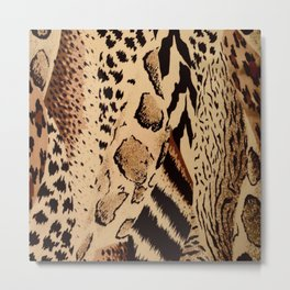 wildlife brown black tan cheetah leopard safari animal print Metal Print