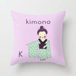 K is for Kimono Throw Pillow