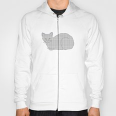 Gray Cat on Floral  Hoody