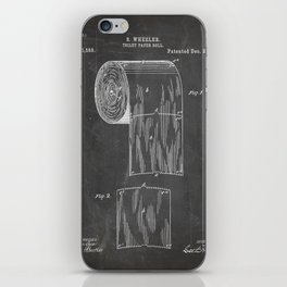 Toilet Paper Patent - Bathroom Art - Black Chalkboard iPhone Skin