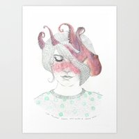 She always leaves him with a heavy head Art Print
