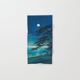 Vintage Japanese Woodblock Print Moonlight Over Ocean Japanese Landscape Tall Tree Silhouette Hand & Bath Towel