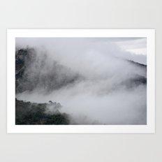 Foggy mountains. Mystery woods. Art Print