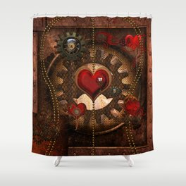 Steampunk Awesome Heart Shower Curtain