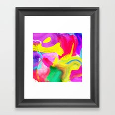 Modern bright neon psychedelic abstract brushstrokes paint Framed Art Print