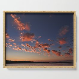 Puffy, pink Puget Sound sunset Serving Tray