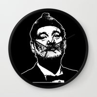 bill murray Wall Clocks featuring Bill Murray Special Edition  by Spyck