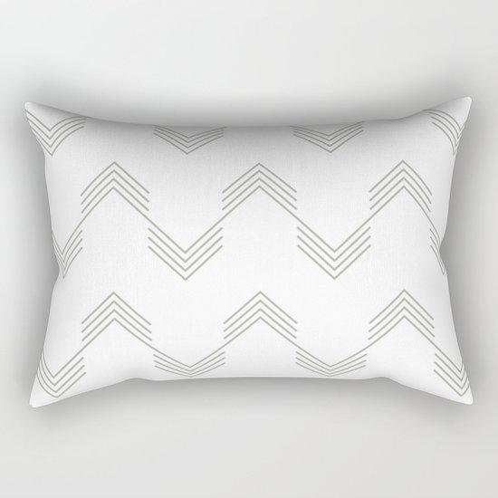 Simply Deconstructed Chevron Retro Gray on White Rectangular Pillow