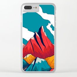 Smoke trail mountains Clear iPhone Case