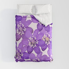 Purple wildflowers on a white background - spring atmosphere #decor #society6 #buyart Comforters