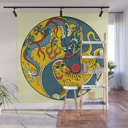 A Flag of Dragon and Tiger Wall Mural