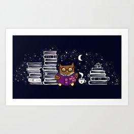 Owl Night Reader Art Print
