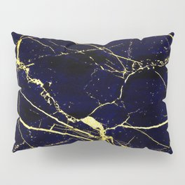 BlueBlack-Gold Marble Galaxy Impress Pillow Sham