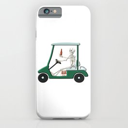 Old Timer Skeleton In Golf Cart Discovers Light Beer graphic iPhone Case