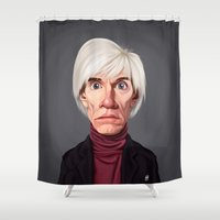 celebrity Shower Curtains featuring Celebrity Sunday ~ Andy Warhola by rob art | illustration