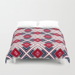 Red blue patchwork Duvet Cover