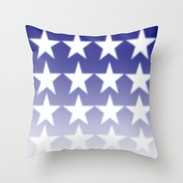 Blue and White Stars, Blue Faded Background With White Stars Throw Pillow