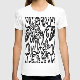 Japanese Floral White & Black T-shirt