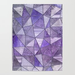Purple Lilac Glamour Shiny Stained Glass Poster