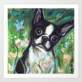 Boston Terrier butterfly green Art Print