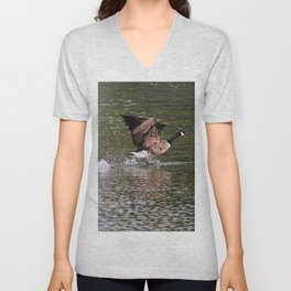 Run Along - Canada Goose Running across Lake Water Unisex V-Neck