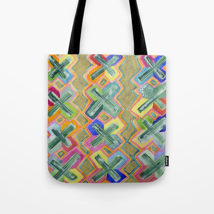 Colorful X-Pattern Tote Bag