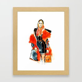 fashion #49: woman in a coat with red fur Framed Art Print