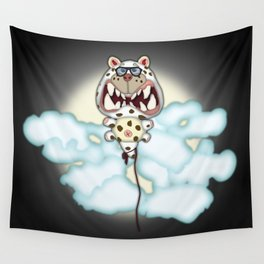 Funny Scared White Cat Balloon With Glasses Wall Tapestry