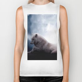Awesome Wolf and Moon White Wolf Biker Tank