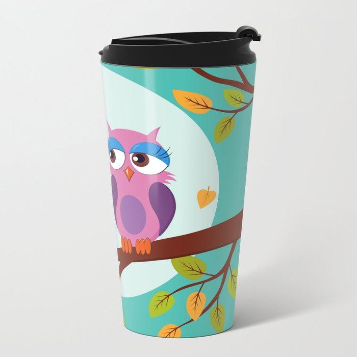 Sleepy owls in love Metal Travel Mug