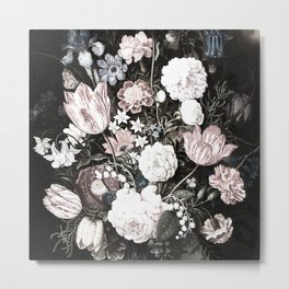 Vintage Floral Art, Dark Flower, Bouquet of flowers, Vintage Painting Metal Print