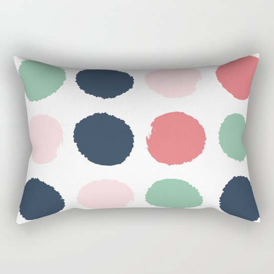 Painted dots abstract minimal modern art print for minimalist home decor nursery Rectangular Pillow