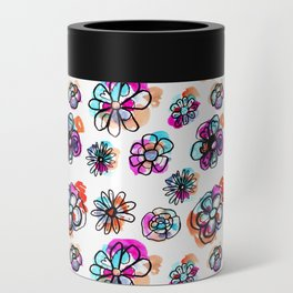 colorful fall floral Can Cooler