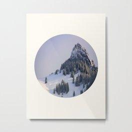 Mid Century Modern Round Circle Photo Winter Pine Trees Ski Mountain Peak Metal Print